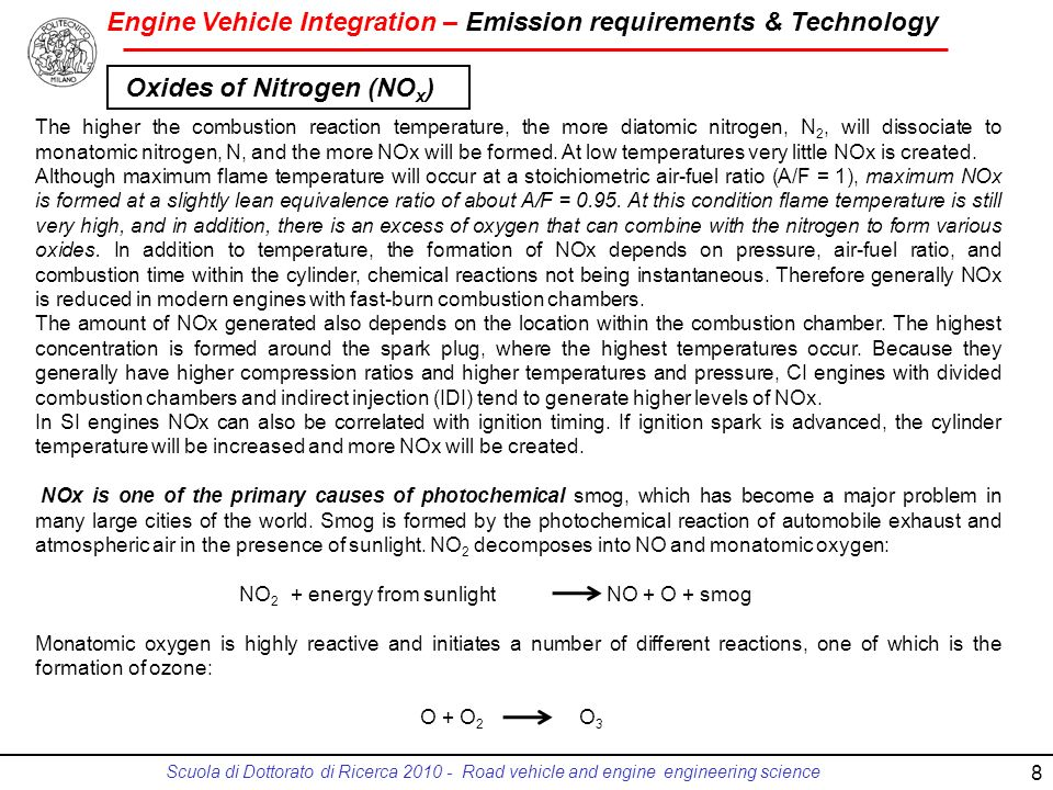 Engine Vehicle Integration – Emission requirements & Technology Scuola di Dottorato di Ricerca 2010 - Road vehicle and engine engineering science 8 Th