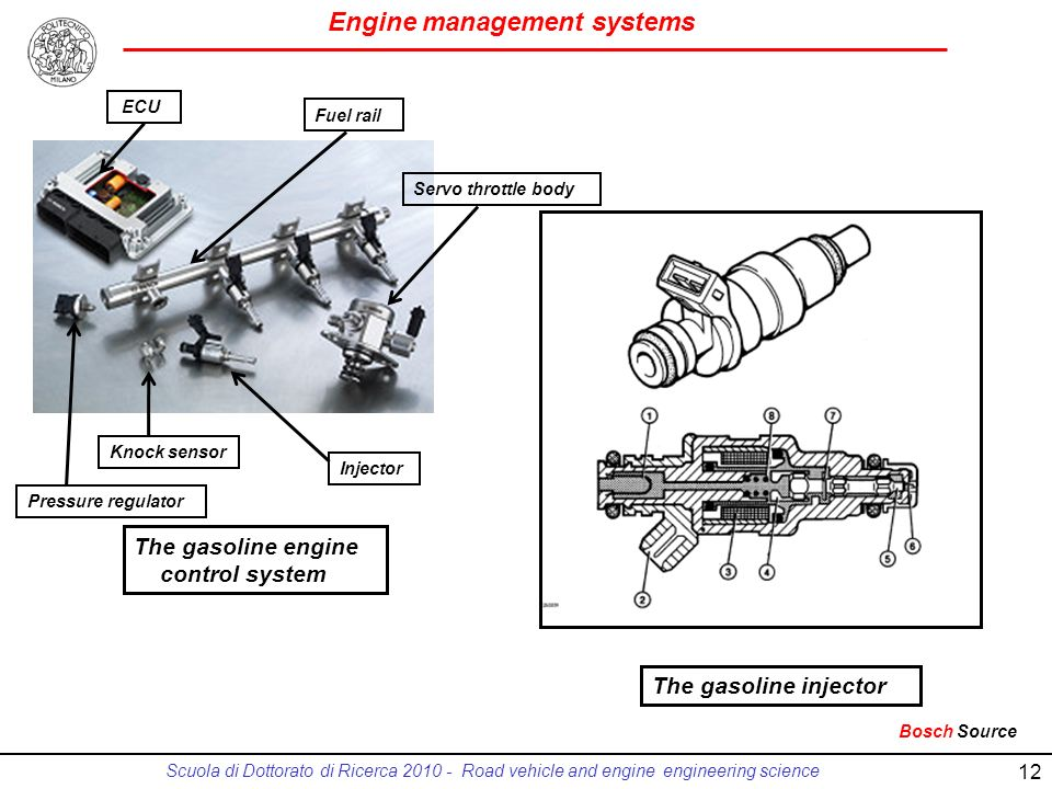 Engine management systems Scuola di Dottorato di Ricerca 2010 - Road vehicle and engine engineering science 12 The gasoline injector The gasoline engi