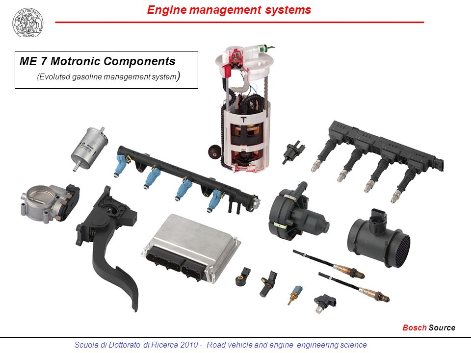 Engine management systems Scuola di Dottorato di Ricerca 2010 - Road vehicle and engine engineering science ME 7 Motronic Components (Evoluted gasolin