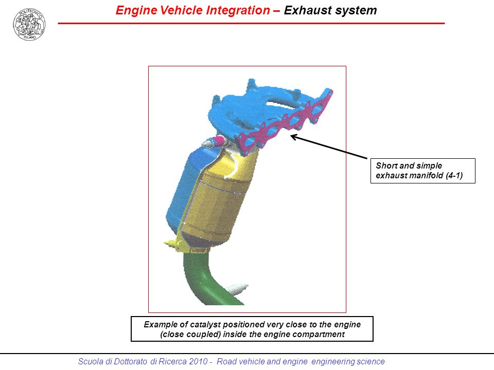 Engine Vehicle Integration – Exhaust system Scuola di Dottorato di Ricerca 2010 - Road vehicle and engine engineering science