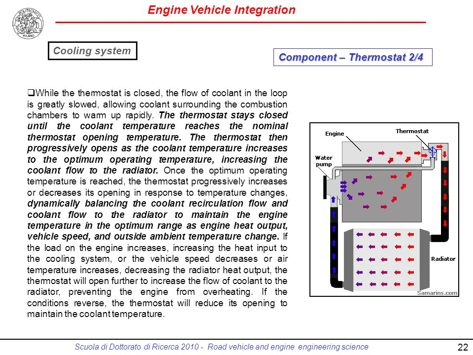 Engine Vehicle Integration Scuola di Dottorato di Ricerca 2010 - Road vehicle and engine engineering science 22 While the thermostat is closed, the flow of coolant in the loop is greatly slowed, allowing coolant surrounding the combustion chambers to warm up rapidly.