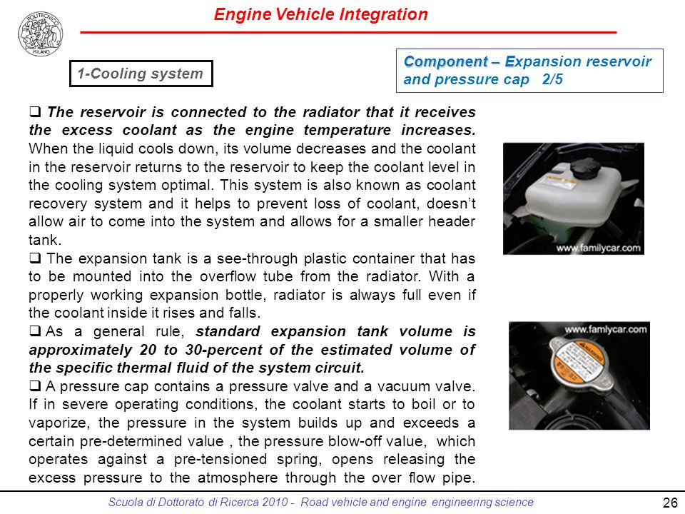 Engine Vehicle Integration Scuola di Dottorato di Ricerca 2010 - Road vehicle and engine engineering science 26 The reservoir is connected to the radiator that it receives the excess coolant as the engine temperature increases.