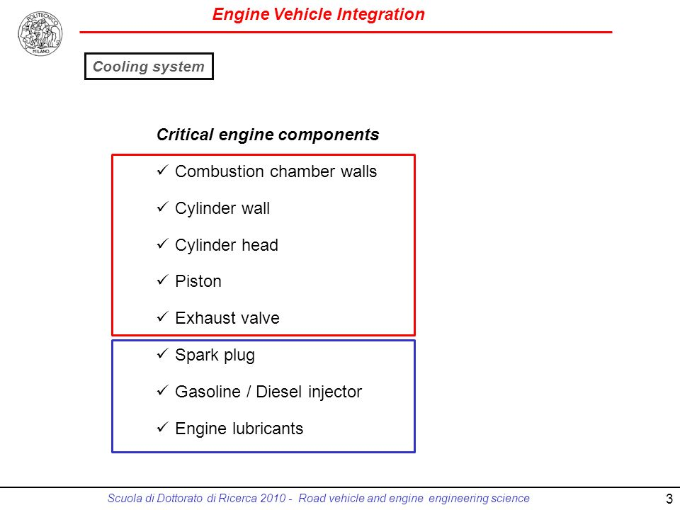 Engine Vehicle Integration Scuola di Dottorato di Ricerca 2010 - Road vehicle and engine engineering science Critical engine components Combustion chamber walls Cylinder wall Cylinder head Piston Exhaust valve Spark plug Gasoline / Diesel injector Engine lubricants Cooling system 3
