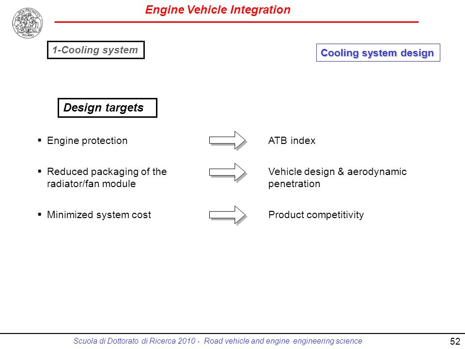 Engine Vehicle Integration Scuola di Dottorato di Ricerca 2010 - Road vehicle and engine engineering science Cooling system design Engine protection Reduced packaging of the radiator/fan module Minimized system cost ATB index Vehicle design & aerodynamic penetration Product competitivity Design targets 1-Cooling system 52