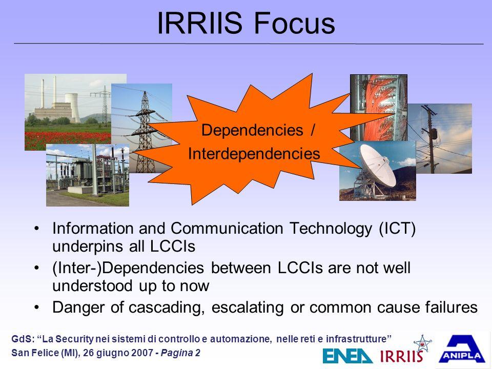 IRRIIS GdS: La Security nei sistemi di controllo e automazione, nelle reti e infrastrutture San Felice (MI), 26 giugno 2007 - Pagina 13 Overall MIT architecture