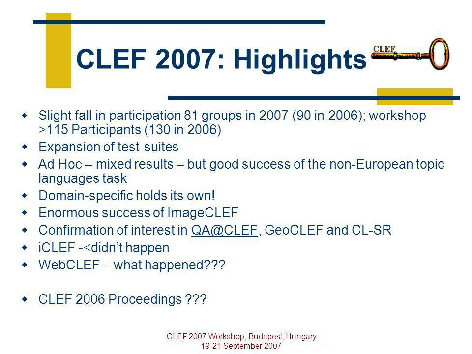 CLEF 2007 Workshop, Budapest, Hungary 19-21 September 2007 CLEF 2007: Highlights Slight fall in participation 81 groups in 2007 (90 in 2006); workshop >115 Participants (130 in 2006) Expansion of test-suites Ad Hoc – mixed results – but good success of the non-European topic languages task Domain-specific holds its own.