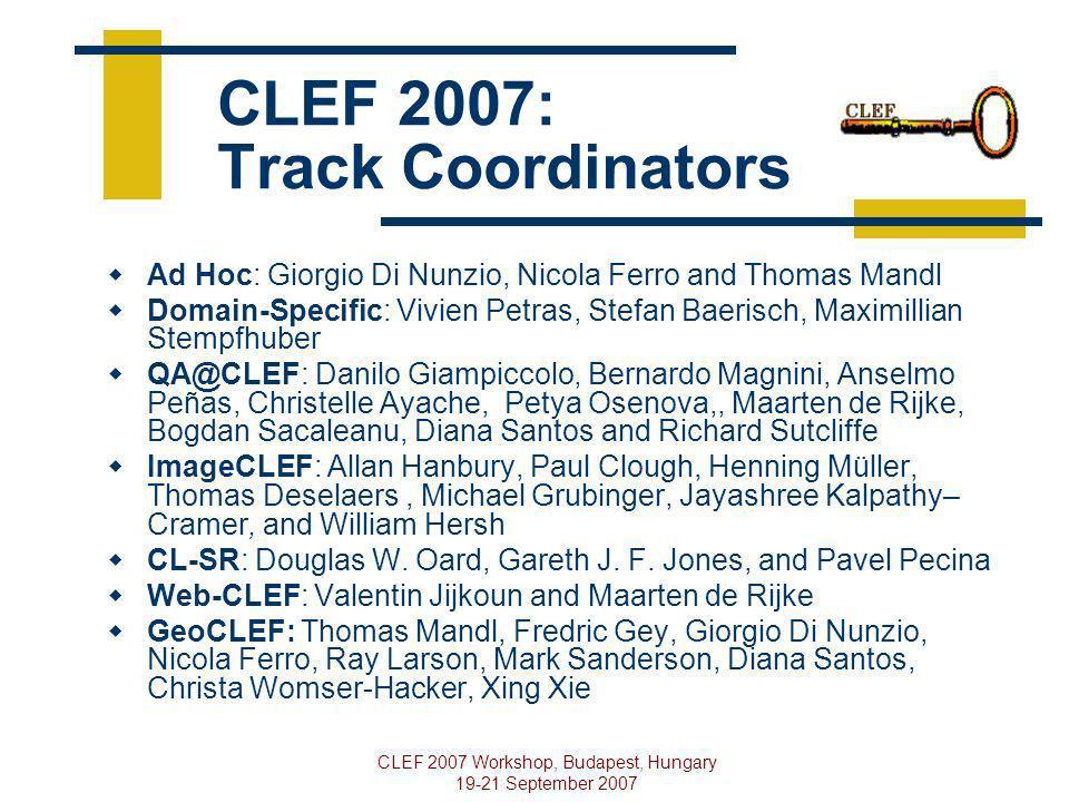 CLEF 2007 Workshop, Budapest, Hungary 19-21 September 2007 CLEF 2007: Track Coordinators Ad Hoc: Giorgio Di Nunzio, Nicola Ferro and Thomas Mandl Doma