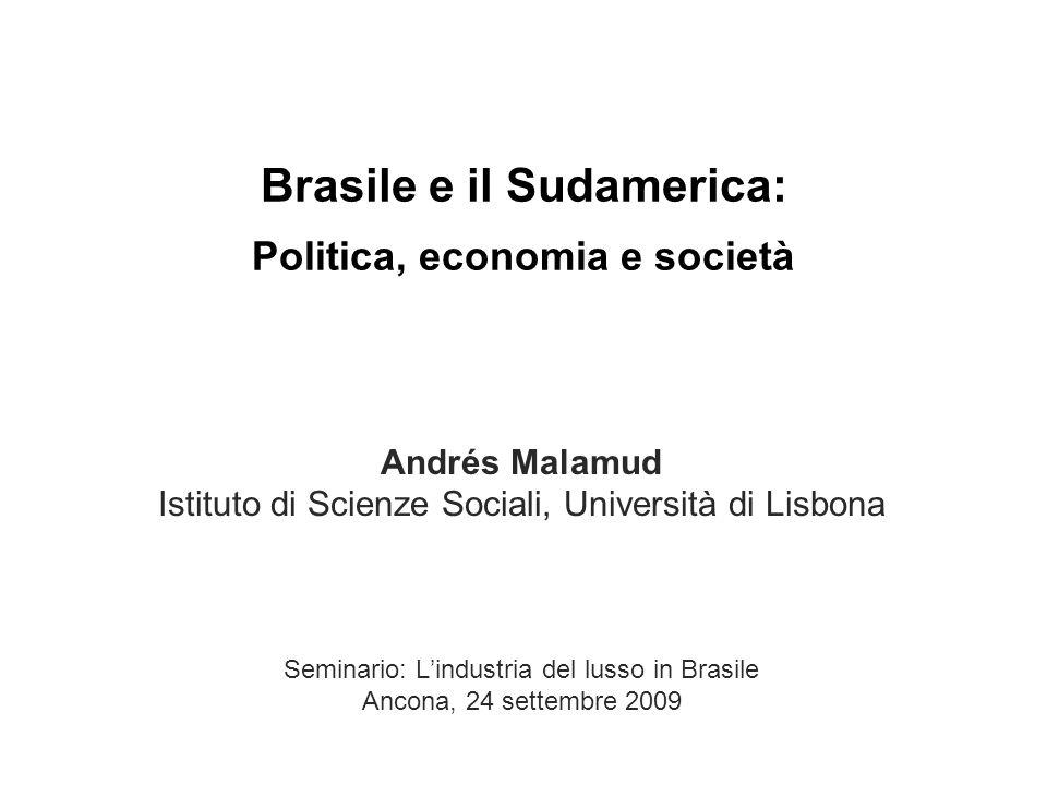 Brasile e il Sudamerica: Politica, economia e società Andrés Malamud Istituto di Scienze Sociali, Università di Lisbona Seminario: Lindustria del lusso in Brasile Ancona, 24 settembre 2009