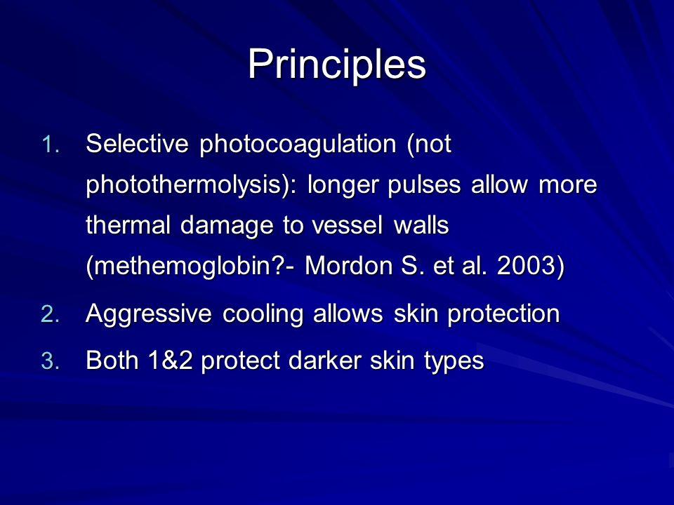 Principles 1. Selective photocoagulation (not photothermolysis): longer pulses allow more thermal damage to vessel walls (methemoglobin?- Mordon S. et
