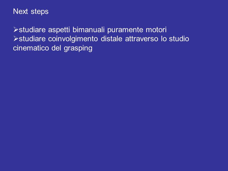Next steps studiare aspetti bimanuali puramente motori studiare coinvolgimento distale attraverso lo studio cinematico del grasping