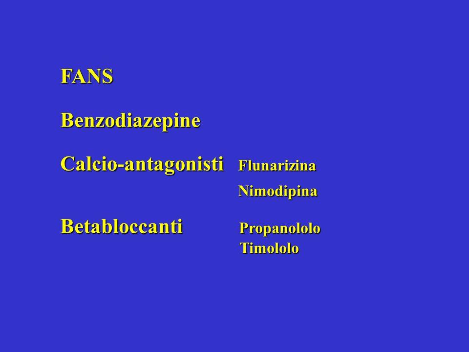 FANSBenzodiazepine Calcio-antagonisti Flunarizina Nimodipina Nimodipina Betabloccanti Propanololo Timololo Timololo