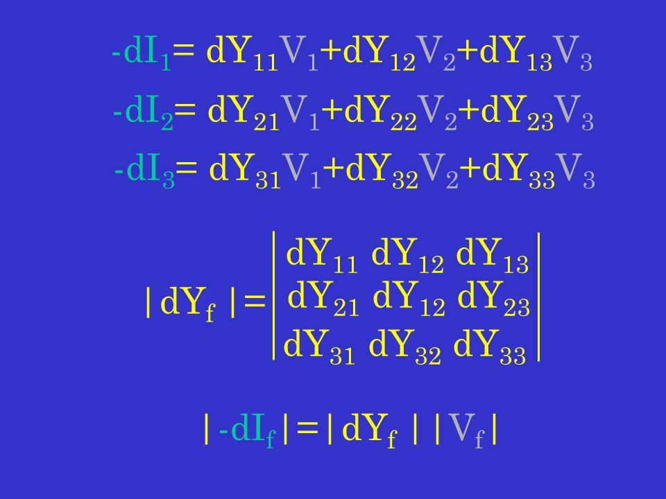 -dI 1 = dY 11 V 1 +dY 12 V 2 +dY 13 V 3 -dI 2 = dY 21 V 1 +dY 22 V 2 +dY 23 V 3 -dI 3 = dY 31 V 1 +dY 32 V 2 +dY 33 V 3 dY 11 dY 12 dY 13 dY 21 dY 12 dY 23 dY 31 dY 32 dY 33 |dY f |= |-dI f |=|dY f ||V f |