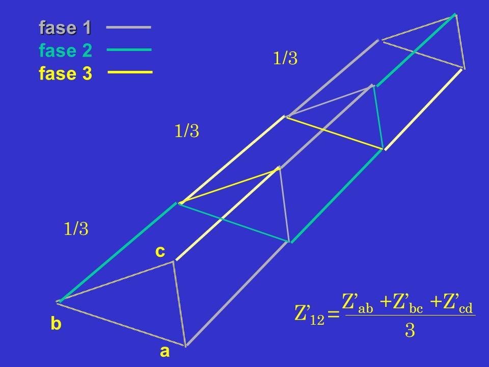 a c b fase 1 fase 2 fase 3 Z 12 = Z ab +Z bc +Z cd 3 1/3