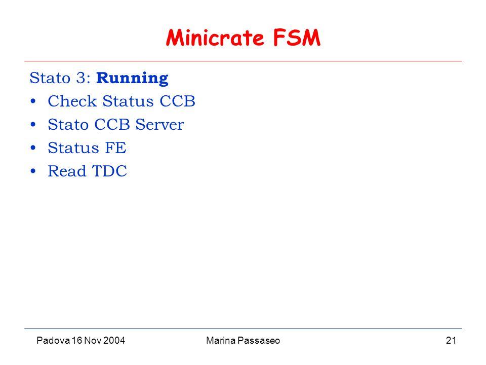 Padova 16 Nov 2004Marina Passaseo21 Minicrate FSM Stato 3: Running Check Status CCB Stato CCB Server Status FE Read TDC