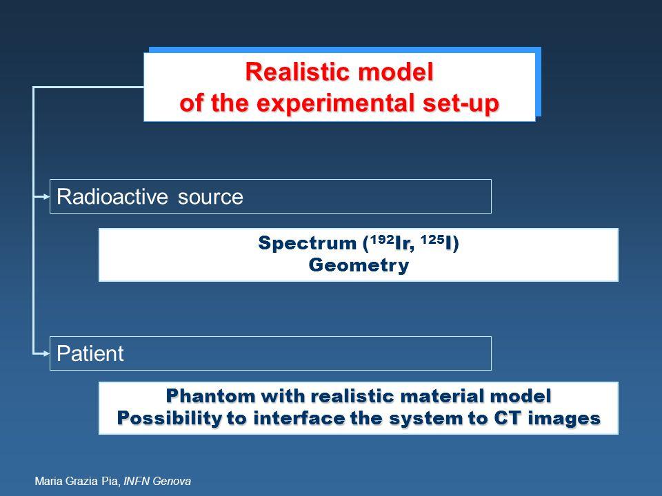 Maria Grazia Pia, INFN Genova Realistic model of the experimental set-up Realistic model of the experimental set-up IrI Spectrum ( 192 Ir, 125 I) Geom