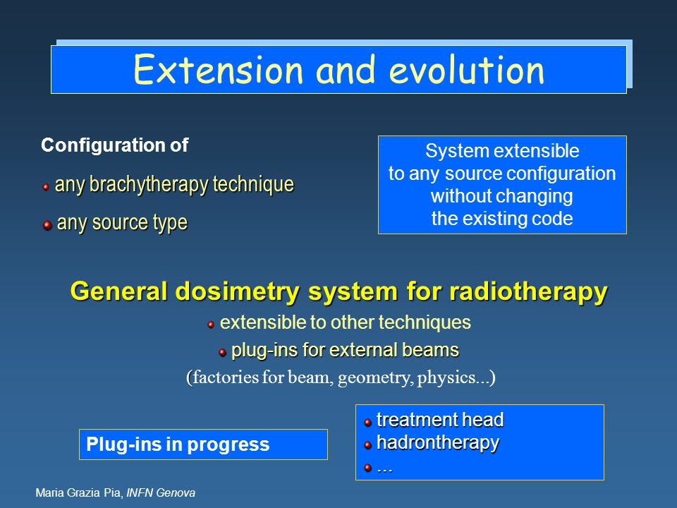 Maria Grazia Pia, INFN Genova Extension and evolution General dosimetry system for radiotherapy extensible to other techniques plug-ins for external b