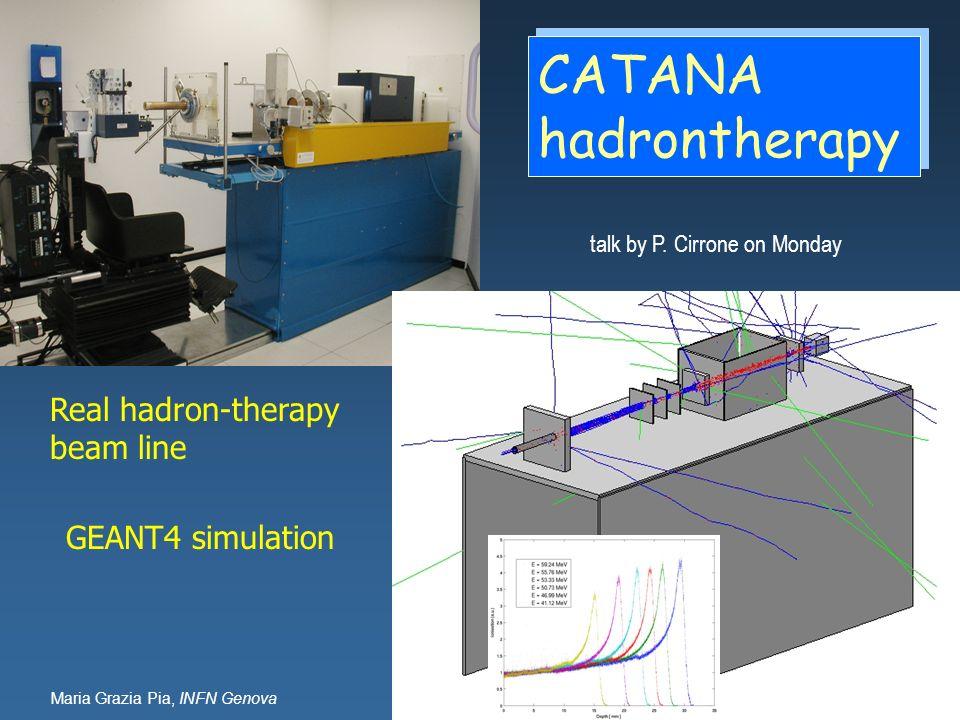 Maria Grazia Pia, INFN Genova Real hadron-therapy beam line GEANT4 simulation CATANA hadrontherapy talk by P. Cirrone on Monday