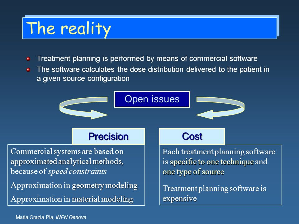 Maria Grazia Pia, INFN Genova The reality Treatment planning is performed by means of commercial software The software calculates the dose distributio