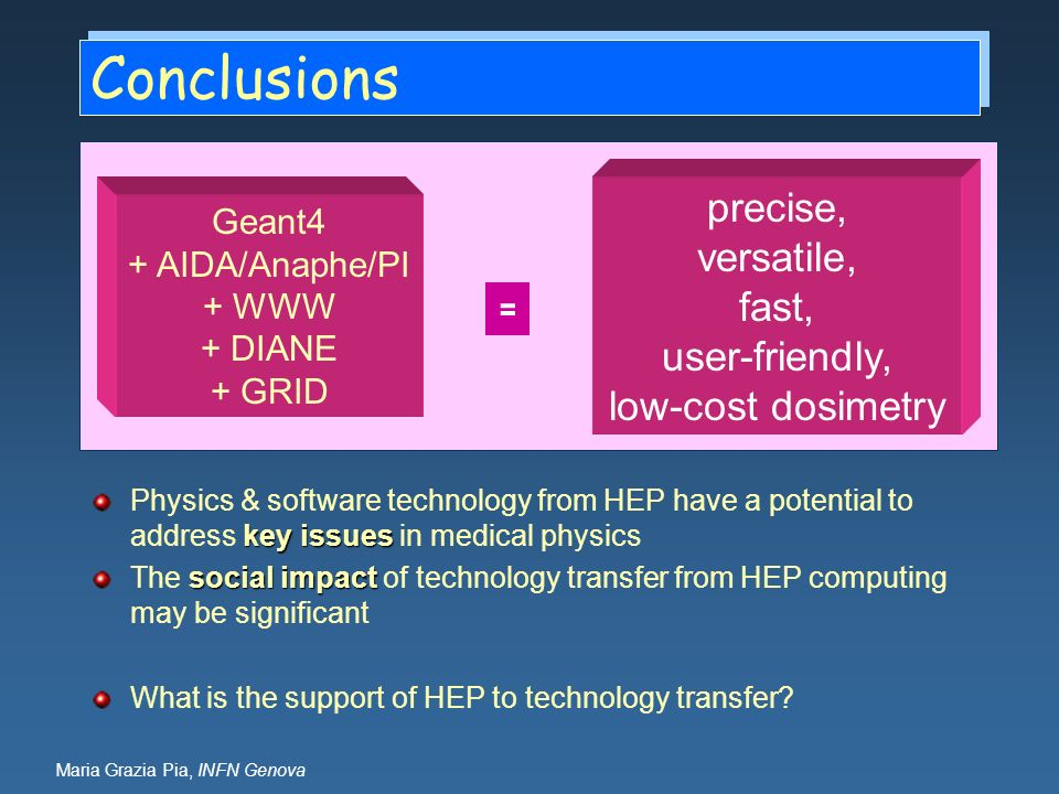 Maria Grazia Pia, INFN Genova Conclusions key issues Physics & software technology from HEP have a potential to address key issues in medical physics