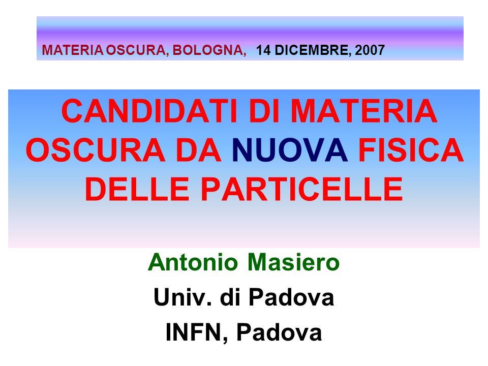 CANDIDATI DI MATERIA OSCURA DA NUOVA FISICA DELLE PARTICELLE Antonio Masiero Univ. di Padova INFN, Padova MATERIA OSCURA, BOLOGNA, 14 DICEMBRE, 2007