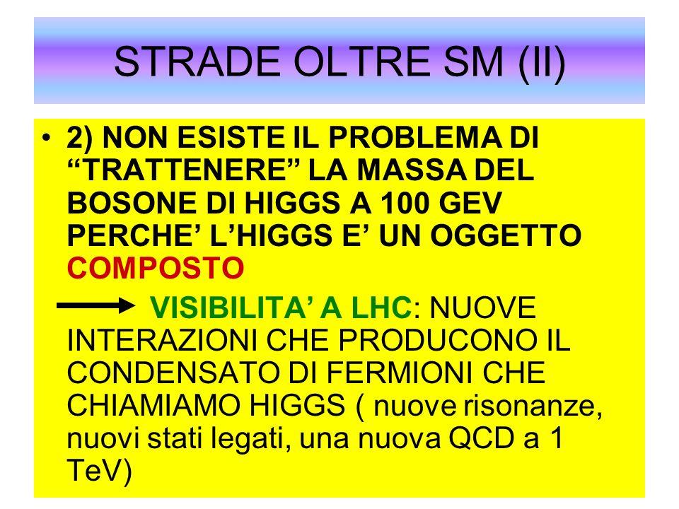 STRADE OLTRE SM (II) 2) NON ESISTE IL PROBLEMA DI TRATTENERE LA MASSA DEL BOSONE DI HIGGS A 100 GEV PERCHE LHIGGS E UN OGGETTO COMPOSTO VISIBILITA A L