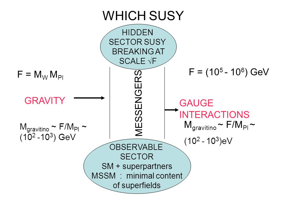 WHICH SUSY HIDDEN SECTOR SUSY BREAKING AT SCALE F OBSERVABLE SECTOR SM + superpartners MSSM : minimal content of superfields MESSENGERS F = M W M Pl G