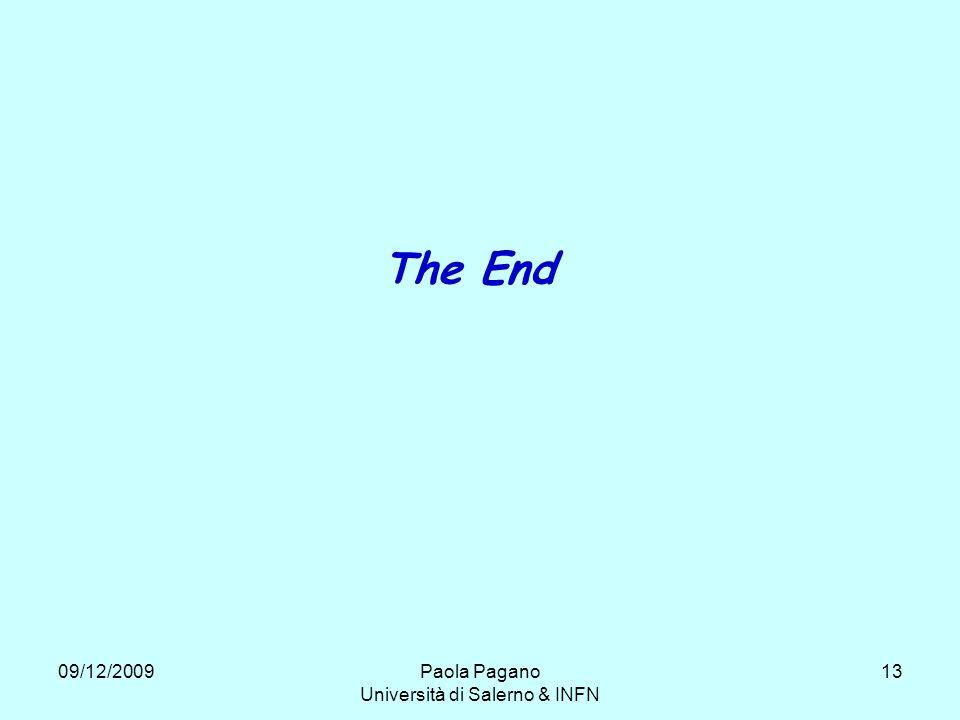 09/12/2009Paola Pagano Università di Salerno & INFN 13 The End