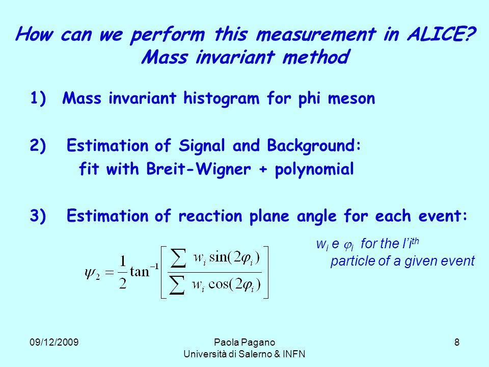 09/12/2009Paola Pagano Università di Salerno & INFN 8 How can we perform this measurement in ALICE.