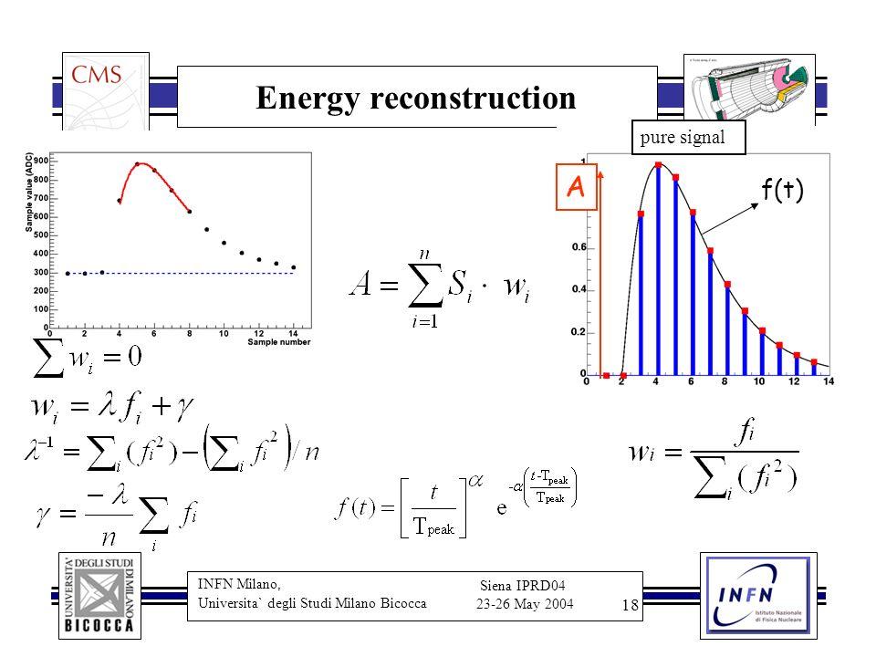 INFN Milano, Universita` degli Studi Milano Bicocca Siena IPRD04 23-26 May 2004 18 Energy reconstruction A pure signal f(t)