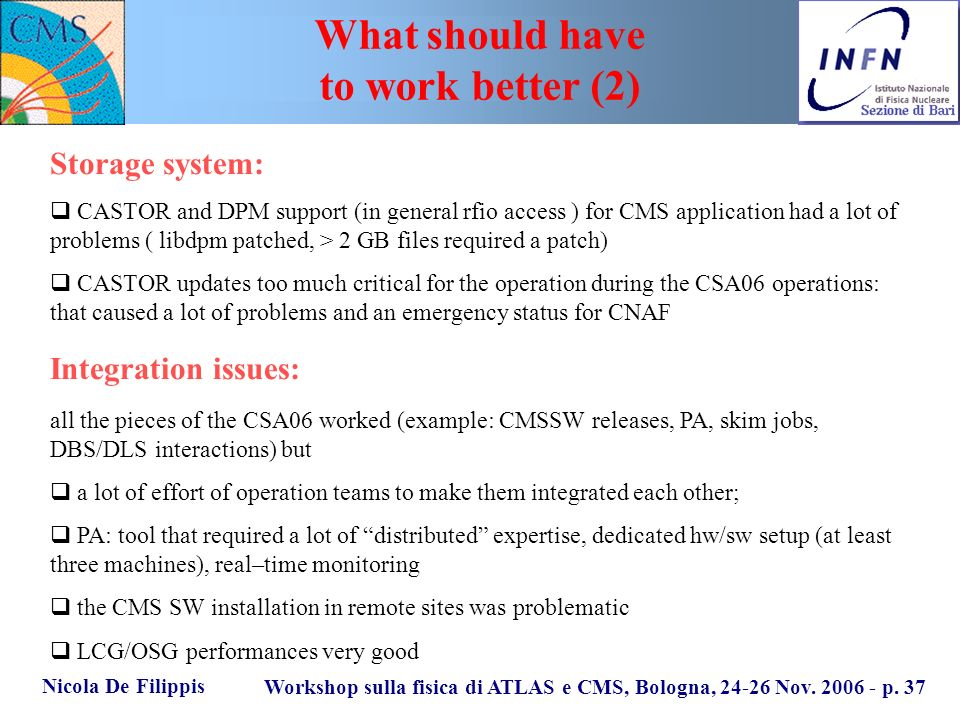 Nicola De Filippis Workshop sulla fisica di ATLAS e CMS, Bologna, 24-26 Nov. 2006 - p. 37 What should have to work better (2) Storage system: CASTOR a