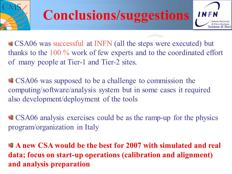 Nicola De Filippis Workshop sulla fisica di ATLAS e CMS, Bologna, 24-26 Nov. 2006 - p. 38 Conclusions/suggestions CSA06 was successful at INFN (all th