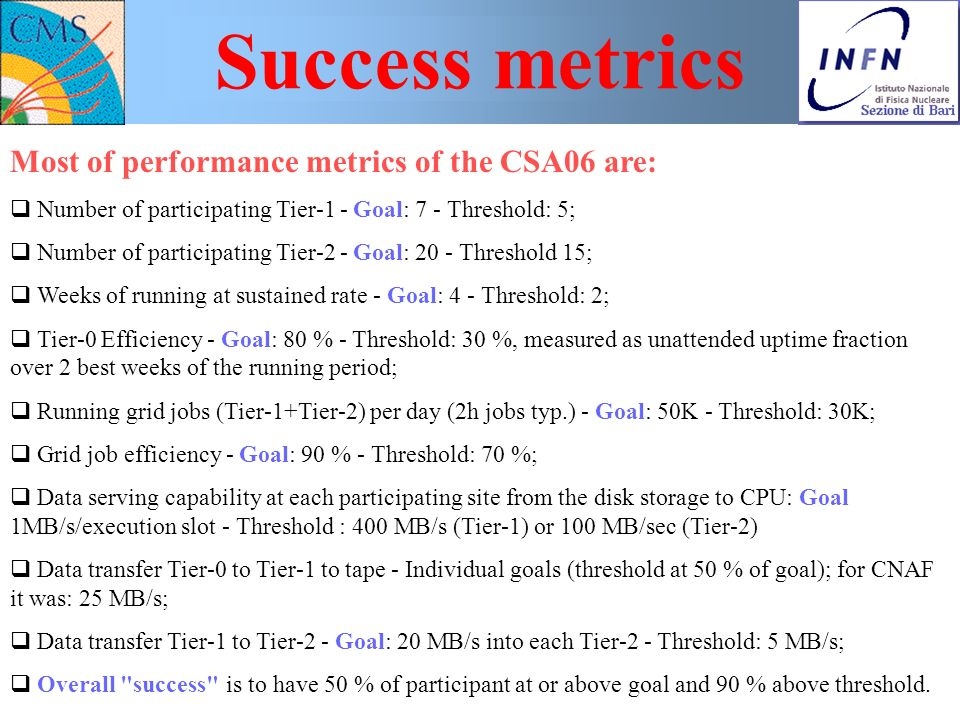 Nicola De Filippis Workshop sulla fisica di ATLAS e CMS, Bologna, 24-26 Nov. 2006 - p. 5 Success metrics Most of performance metrics of the CSA06 are: