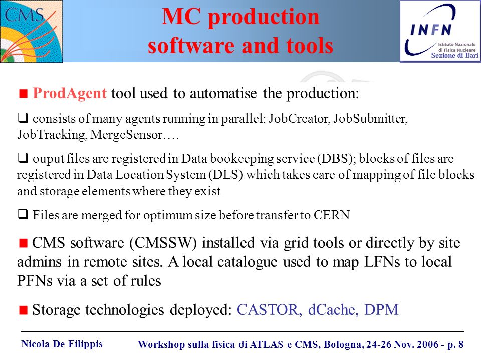 Nicola De Filippis Workshop sulla fisica di ATLAS e CMS, Bologna, 24-26 Nov. 2006 - p. 8 ProdAgent tool used to automatise the production: consists of