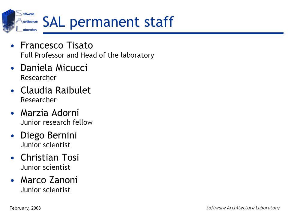 February, 2008 Software Architecture Laboratory SAL permanent staff Francesco Tisato Full Professor and Head of the laboratory Daniela Micucci Researc