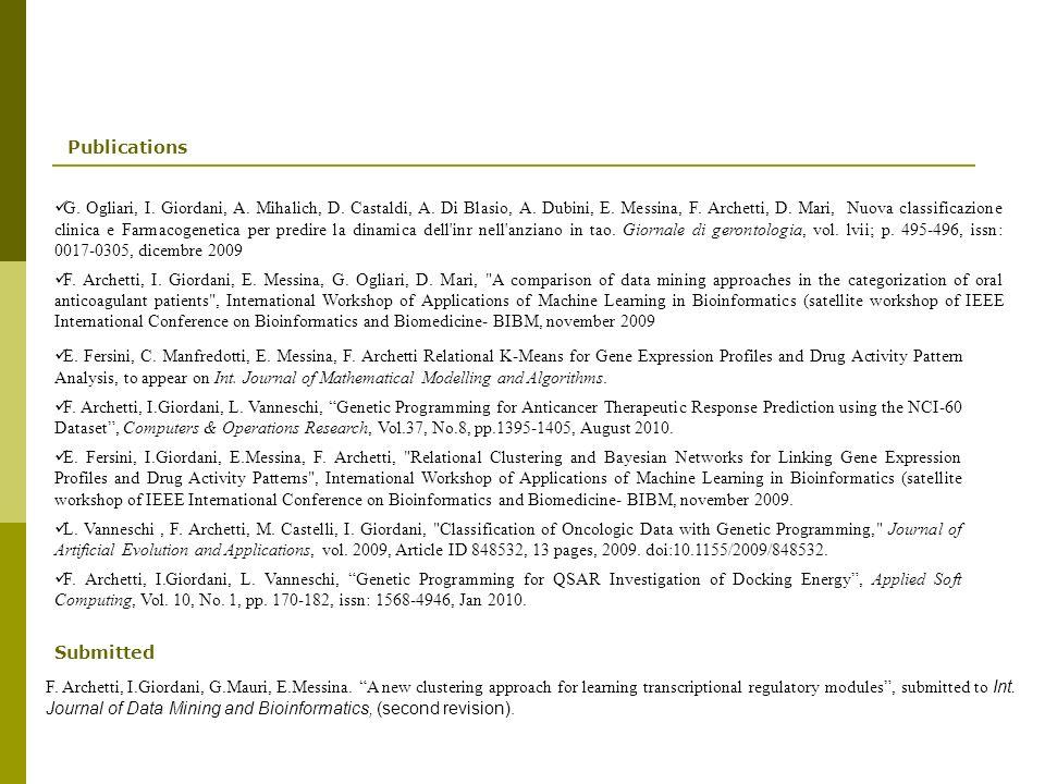 Publications E.Fersini, C. Manfredotti, E. Messina, F.