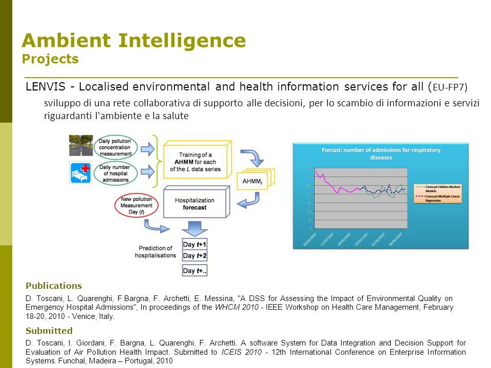 LENVIS - Localised environmental and health information services for all ( EU-FP7) sviluppo di una rete collaborativa di supporto alle decisioni, per lo scambio di informazioni e servizi riguardanti l ambiente e la salute Publications D.