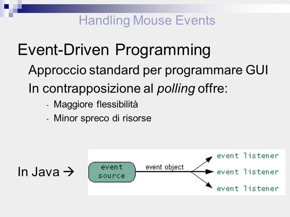 Handling Mouse Events Event-Driven Programming Approccio standard per programmare GUI In contrapposizione al polling offre: - Maggiore flessibilità - Minor spreco di risorse In Java
