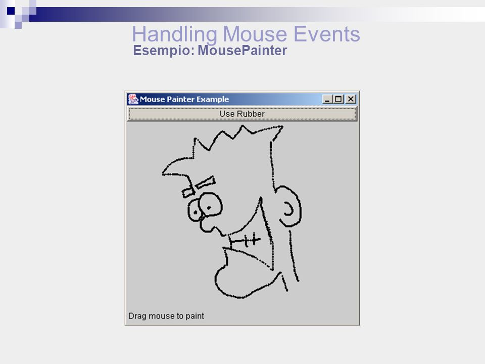 Handling Mouse Events Esempio: MousePainter