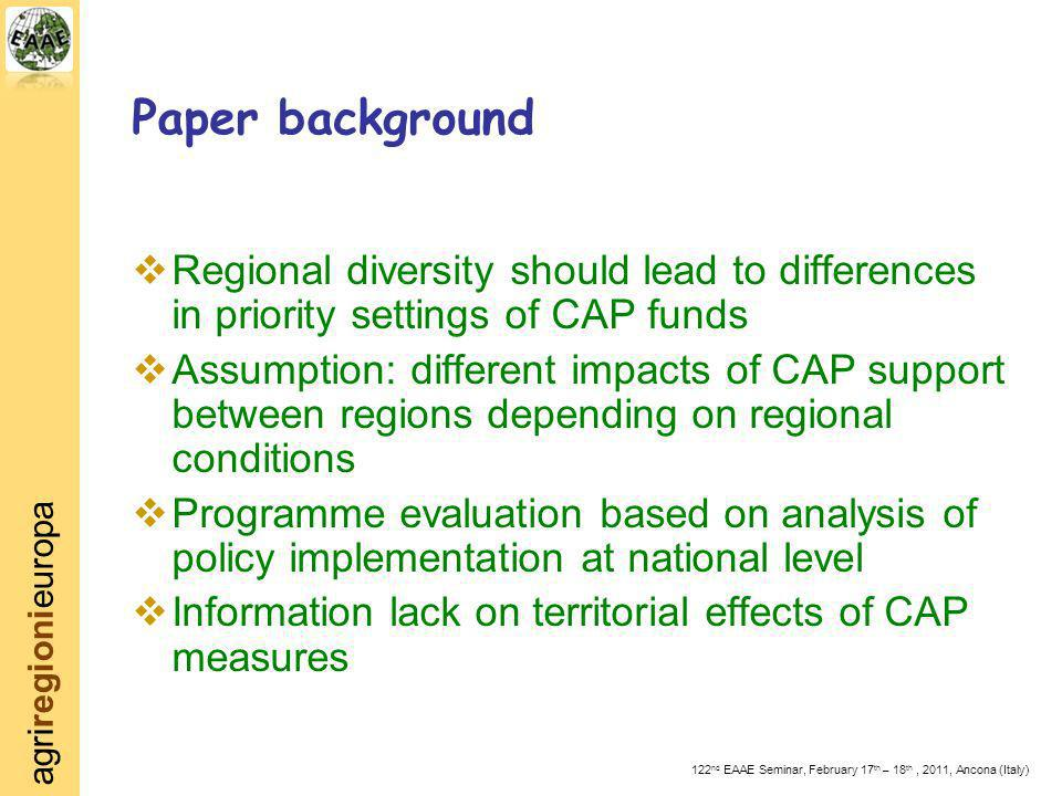 agriregionieuropa 122 nd EAAE Seminar, February 17 th – 18 th, 2011, Ancona (Italy) Paper background Regional diversity should lead to differences in