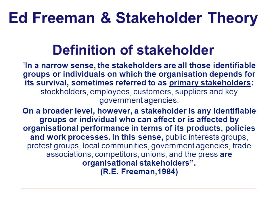 stakeholder theory essay