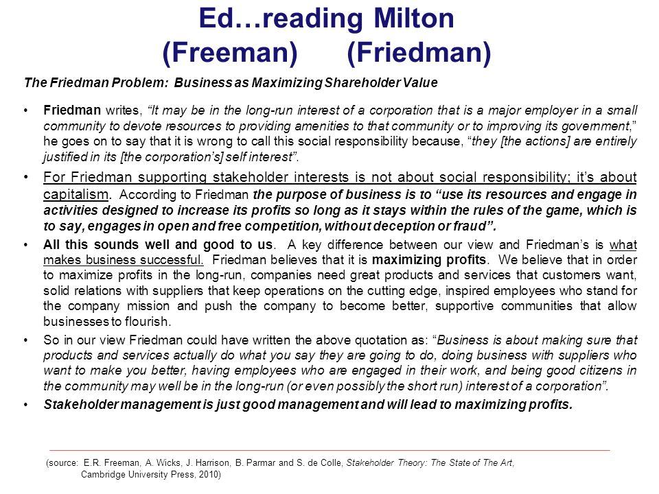Ed…reading Milton (Freeman) (Friedman) The Friedman Problem: Business as Maximizing Shareholder Value Friedman writes, It may be in the long-run inter
