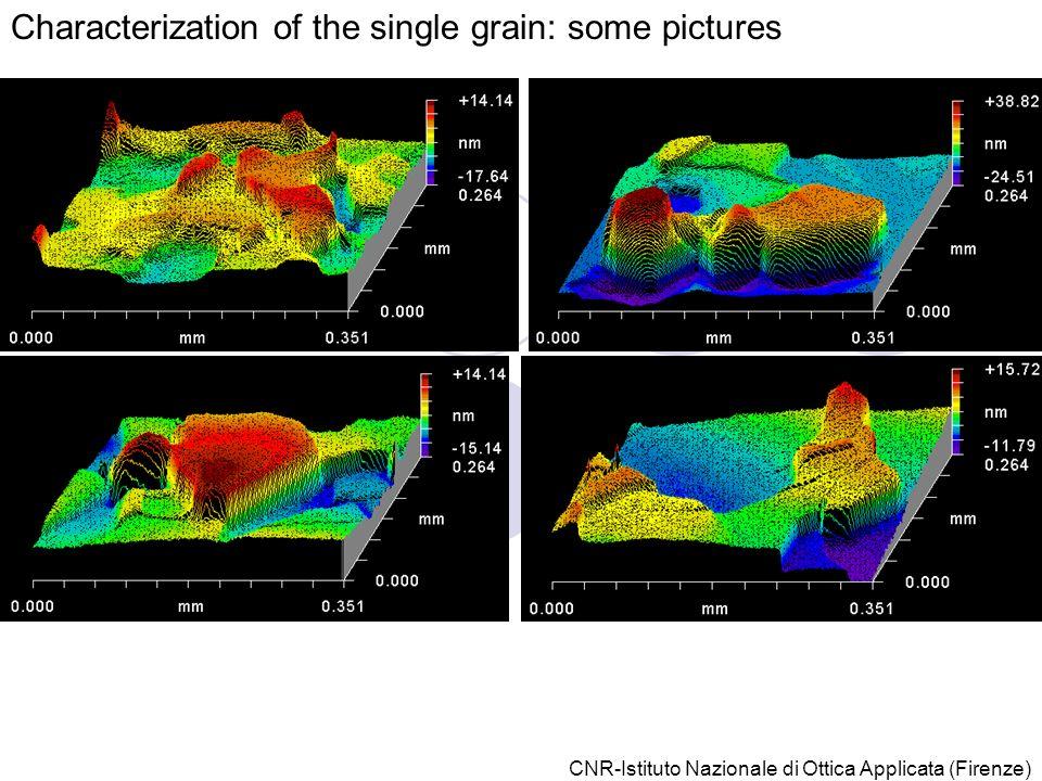 CNR-Istituto Nazionale di Ottica Applicata (Firenze) Characterization of the single grain: some pictures
