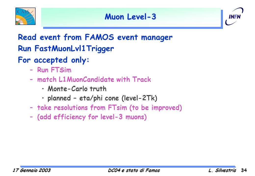17 Gennaio 2003DC04 e stato di FamosL.