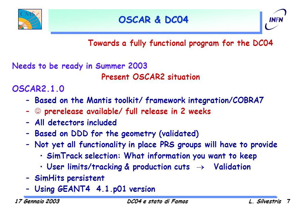 Lattivita di simulazione e ricostruzione per il DC04