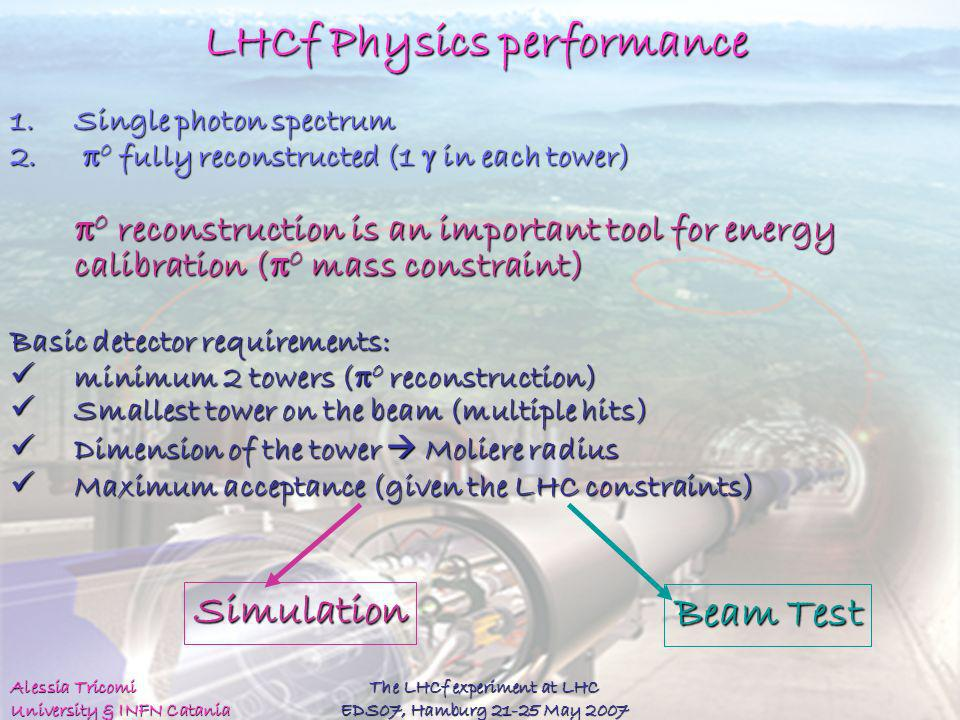 Alessia Tricomi University & INFN Catania The LHCf experiment at LHC EDS07, Hamburg 21-25 May 2007 LHCf Physics performance 1.Single photon spectrum 2