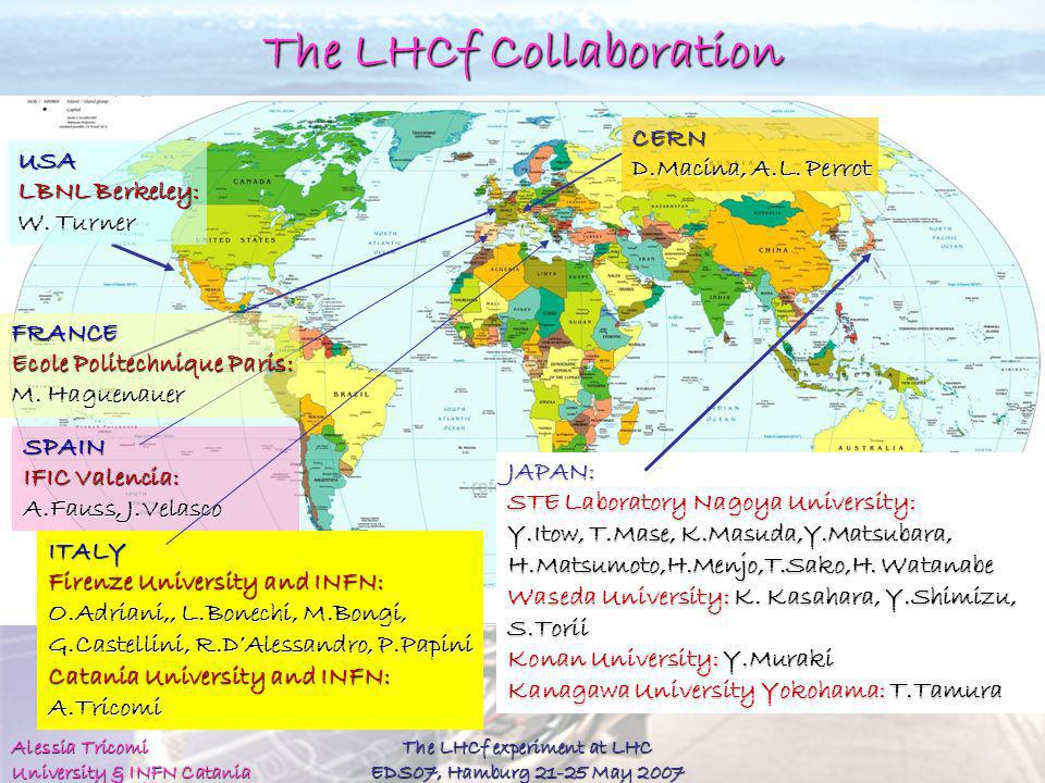 Alessia Tricomi University & INFN Catania The LHCf experiment at LHC EDS07, Hamburg 21-25 May 2007 The LHCf Collaboration ITALY Firenze University and