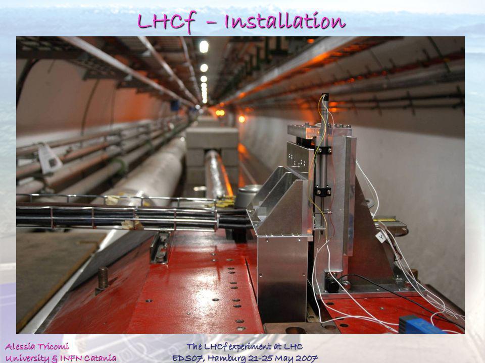 Alessia Tricomi University & INFN Catania The LHCf experiment at LHC EDS07, Hamburg 21-25 May 2007 LHCf – Installation