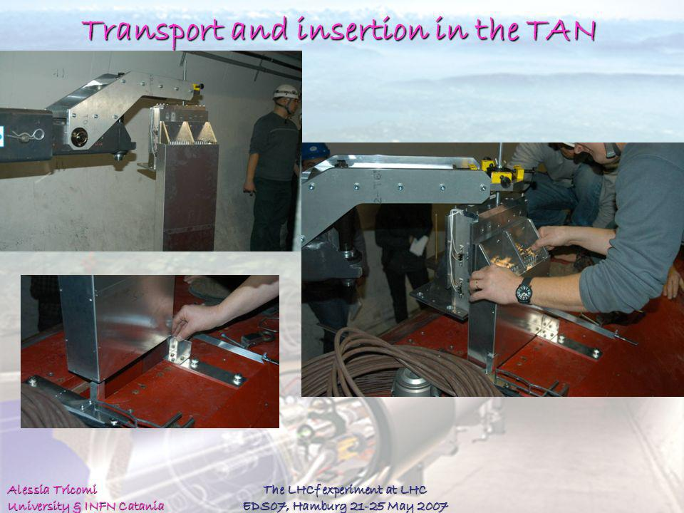 Alessia Tricomi University & INFN Catania The LHCf experiment at LHC EDS07, Hamburg 21-25 May 2007 Transport and insertion in the TAN