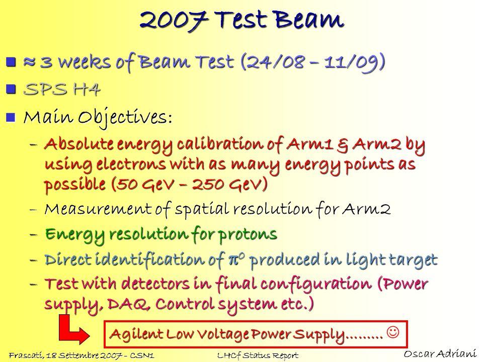 Oscar Adriani Frascati, 18 Settembre 2007 - CSN1 LHCf Status Report 2007 Test Beam 3 weeks of Beam Test (24/08 – 11/09) 3 weeks of Beam Test (24/08 –