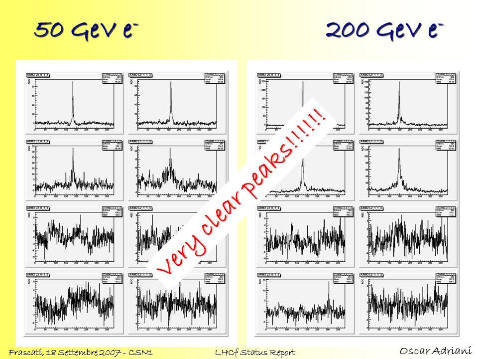 Oscar Adriani Frascati, 18 Settembre 2007 - CSN1 LHCf Status Report 50 GeV e - 200 GeV e - Very clear peaks!!!!!!
